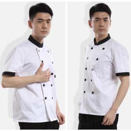 夏季新款短袖酒店工作服飯店西餐廳廚師服裝後廚廚師長工作服夏裝