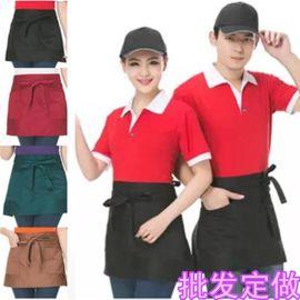 厂家供应酒店餐厅酒吧半身围裙服务员厨师工作服彩色双兜优质围裙