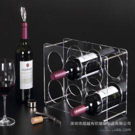 深圳厂家定做亚克力酒架阶梯饮料架红酒展示架酒杯展示道具收纳架