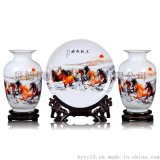 陶瓷花瓶三件套 景德鎮陶瓷花瓶盤子三件套 創意客廳擺件