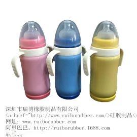 廠家批發嬰兒全矽膠奶瓶 帶吸管手柄防脹氣防摔寶寶新生兒寬口徑