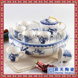 景德镇陶瓷功夫茶具套装家用  中式青花瓷盖碗茶壶套装