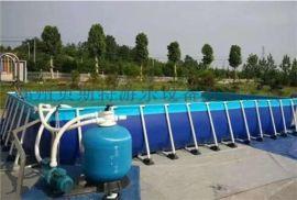 广东广州大型支架游泳池促销价组合滑梯非常实惠