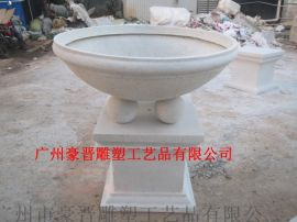 广州豪晋 玻璃钢人造仿砂岩花盆雕塑