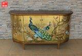 凡高漆器金箔手绘孔雀图案四门柜