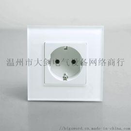 鋼化玻璃面歐式電源插座