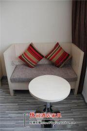 广州优冠快捷酒店全套家具 宾馆实木茶几沙发组合家具