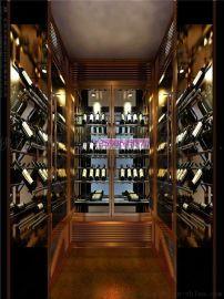 不锈钢吧台吊架酒杯架 复古不锈钢葡萄酒柜