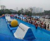 河南南阳广场景区支架水池放置水上充气闯关设备