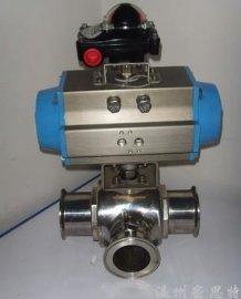 中旭达供应不锈钢气动三通内螺纹球阀单作用常闭型|卫生级气动三通球阀