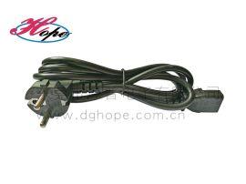东莞厚普欧规电源线VDE认证欧标三插品字尾1.5M电源插头线厂家