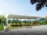 承德钢结构停车棚造价、冀州拉杆式汽车棚、任丘加油站雨棚设计