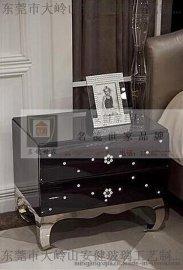 时尚欧式床头柜新古典边柜后现代奢华两抽斗柜家具柜