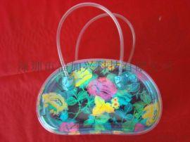 彩色透明PVC拉链袋 时尚手提包包