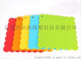 耐高温硅胶餐垫 方形波浪硅胶锅垫 硅胶隔热垫
