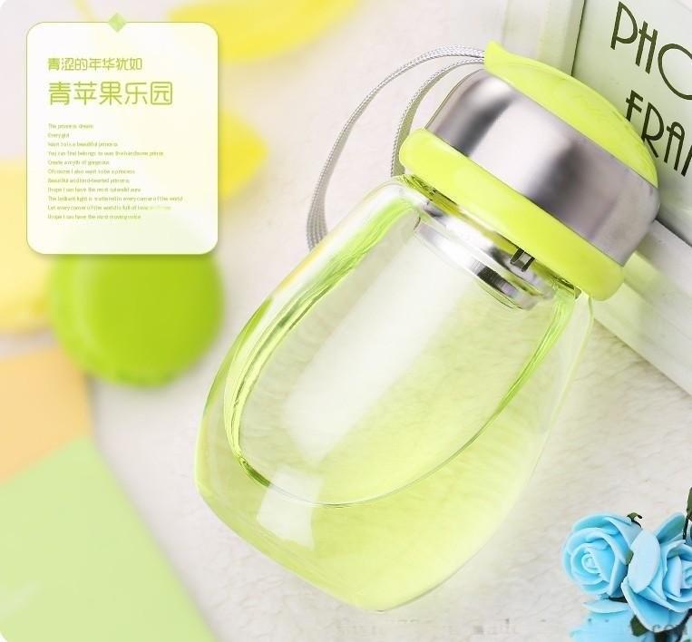 创意批发便携水杯 可爱大肚玻璃呆萌企鹅杯 随手杯学生过滤花茶杯