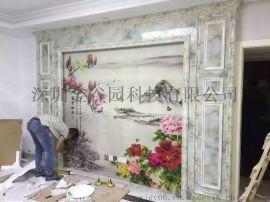 3D艺术背景墙打印机 瓷砖玻璃彩绘图案 uv平板喷印机