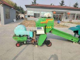 玉米秸秆打捆包膜机,带气泵的青贮打捆机