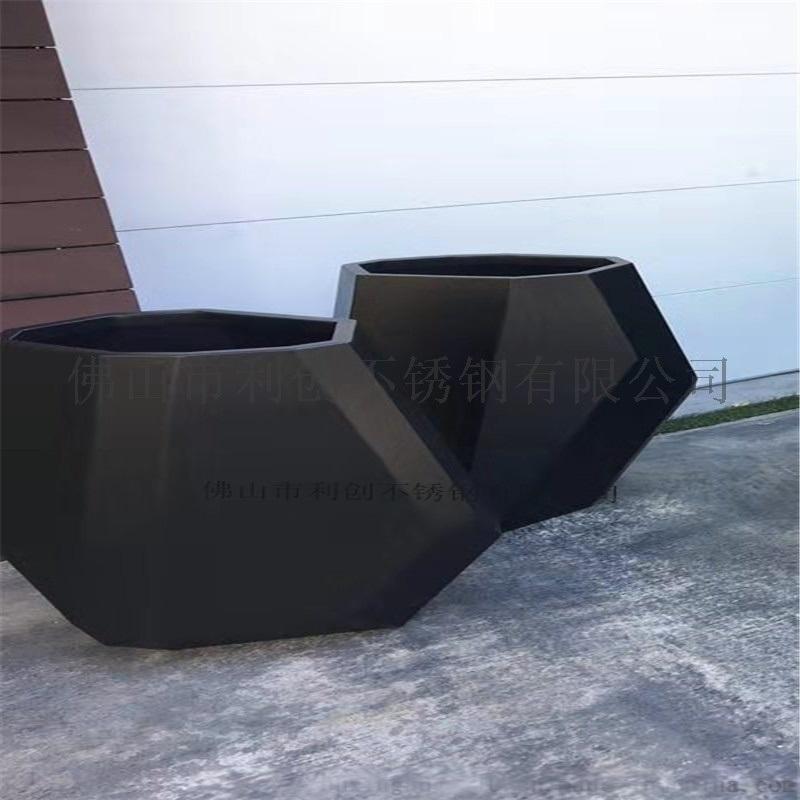 创意不锈钢花盆定制厂家异形黑钛花箱