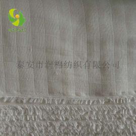 润棉纺织厂家直销原色普梳全棉方格双层纱布双坯布