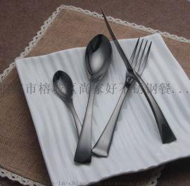 镀钛黑色不锈钢刀叉勺牛排刀叉餐具套装酒店家居用品