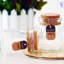 透明小号木塞布丁玻璃瓶创意礼品许愿瓶漂流瓶幸运星瓶喜糖瓶