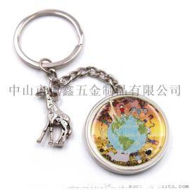 热销圆形贴纸滴胶工艺钥匙扣 动物小鹿金属钥匙链