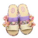 蝴蝶結花朵居家亞麻拖鞋