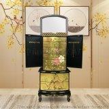 新中式珠寶首飾鬥櫃項鍊手鐲儲物櫃房間帶鏡子