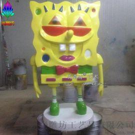 广州玻璃钢雕塑厂尚雕坊现货供应H115CM海绵宝宝玻璃钢卡通创意艺术景观雕塑公仔