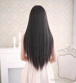 假发女长直发 逼真黑长发 齐刘海蓬松自然甜美可爱假发套女士发型