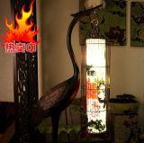 龜鶴延壽迎賓賀壽佳禮中式古典風水家居客廳擺件手繪畫仙鶴落地燈