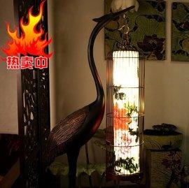 龟鹤延寿迎宾贺寿佳礼中式古典风水家居客厅摆件手绘画仙鹤落地灯