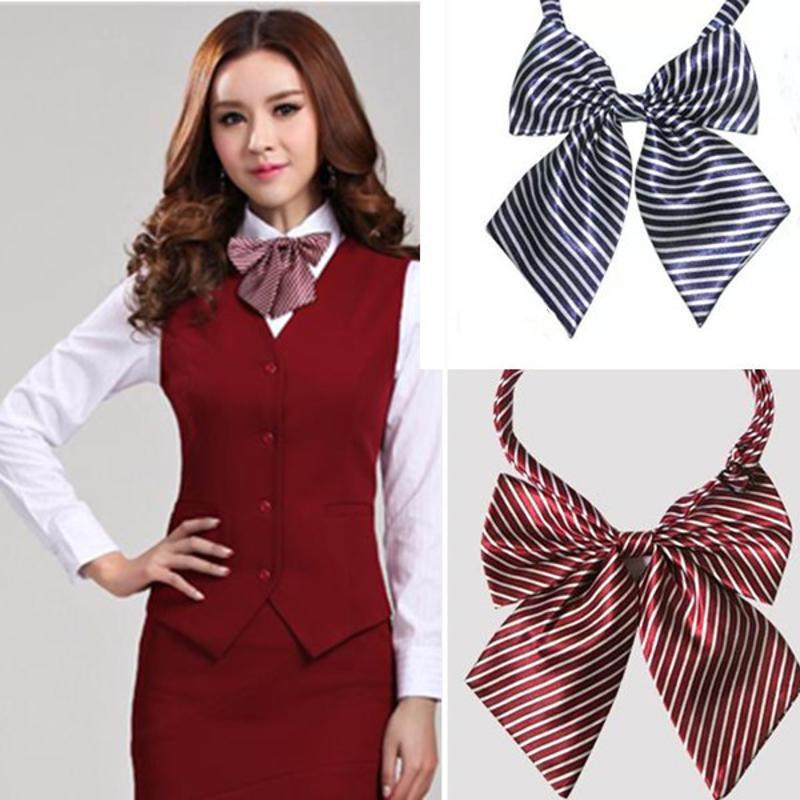 批發韓式女士領結領花空姐銀行酒店服裝領花 條紋 蝴碟結時尚小領