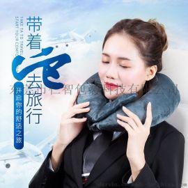 PVC充气枕U型枕护颈枕旅行枕便携按压充气枕