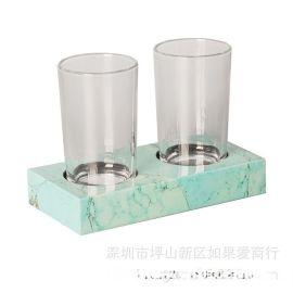 绿色木质双人架欧式卫浴浴室牙刷杯架漱口杯架双杯架口杯架家摆件