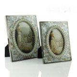 油花貝殼珍珠邊框不鏽鋼金屬相框新古典美式歐式樣板房間裝飾擺件