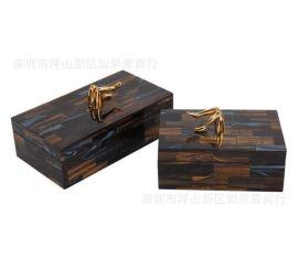 不锈钢金属金色长方形玻璃咖啡色首饰收纳盒样板间软装摆件欧式