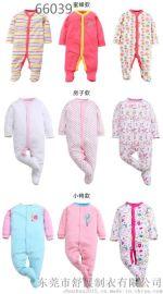 厂家直销2017春夏款婴儿长袖连身衣包脚三件装纯棉童装爬服连体衣