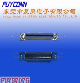 57(cn)-90度50母蓝胶半金锁合L片平孔弯脚勾耳插板连接器(RJ21DDK/centronic)