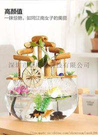 水乡故事 流水摆件喷泉工艺品 客厅玄关桌面摆件竹子鱼缸