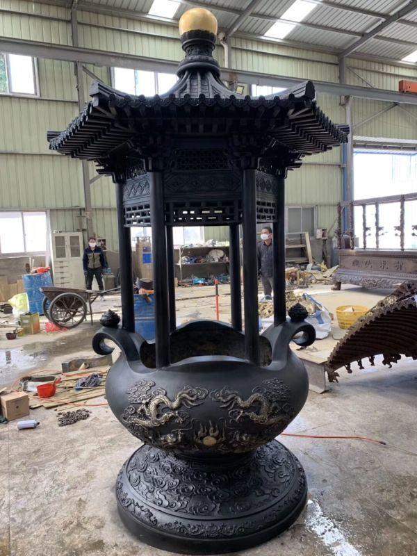宗祠圆形铜香炉厂家 祠堂铸铜长方形香炉订制厂家