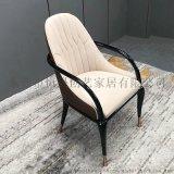 港式轻奢不锈钢实木客厅餐椅
