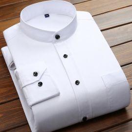 冬季款立领保暖衬衫男士 时尚职业圆领黑色长袖衬衣