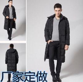冬款男士加厚超長過膝大衣大碼保暖冬裝帶帽商務防寒服定制LOGO