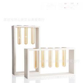 防爆玻璃白色大理石花器瓶禅意日式中式北欧式创意样板间装饰摆件