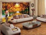 佛山陶瓷背景牆廠家個性定製彩虹石品牌客廳電視背景牆 沙發背景牆瓷磚壁畫 黃金樹 瓷磚背景牆 金光大道