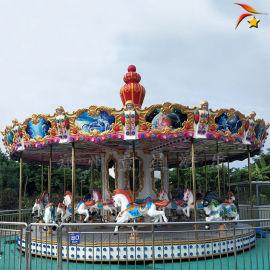 双飞檐仿上传动转马旋转木马公园户外游乐设备