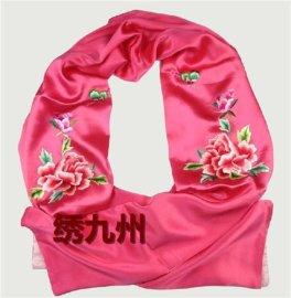绣九州 苏绣 纯手工刺绣真丝底料高档大披肩 粉色牡丹