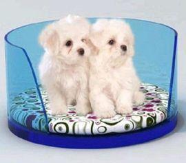亚克力宠物猫咪床窝订制厂家-紫色有机玻璃宠物床供应
